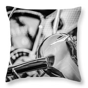 1955 Chevrolet Bel Air Convertible Steering Wheel Emblem -0976bw Throw Pillow