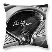1955 Chevrolet Belair Dashboard Emblem Clock Throw Pillow