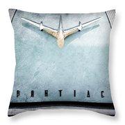 1955 Pontiac Safari Hood Ornament - Emblem Throw Pillow
