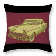 1956 Ford Custom Line Antique Car Pop Art Throw Pillow