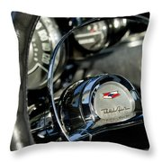 1957 Chevrolet Belair Steering Wheel Throw Pillow