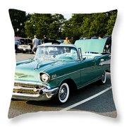 1957 Chevy Bel Air Green Throw Pillow