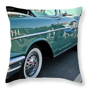 1957 Chevy Bel Air Green Right Side Throw Pillow