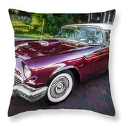 1957 Ford Thunderbird Convertible Painted    Throw Pillow