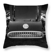 1959 Chevy Corvette Convertible Bw  Throw Pillow