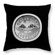 1960 Chevrolet Corvette Roadster Emblem Throw Pillow by Jill Reger
