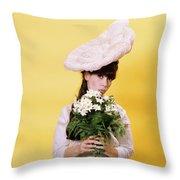 1960s Glamour Woman In White Turn Throw Pillow