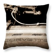 1961 Chevrolet Corvette Engine Throw Pillow