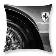 1971 Ferrari Dino Gt Wheel Emblem -027c Throw Pillow