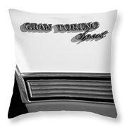 1972 Ford Gran Torino Sport Emblem Throw Pillow