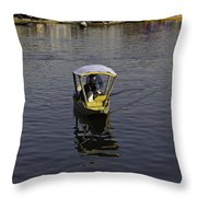 2 Kashmiri Men Heading Towards The Camera In A Small Wooden Boat Throw Pillow