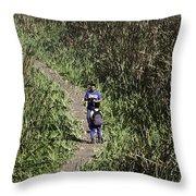 2 Photographers Walking Through Tall Grass Throw Pillow