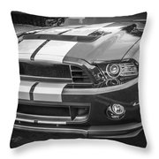 2013 Ford Mustang Shelby Gt 500 Bw Throw Pillow