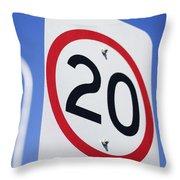 20km Road Sign Throw Pillow