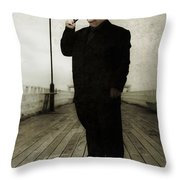 50s Detective Smoking Pipe Throw Pillow