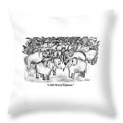 1-800 Herd Of Elephants Throw Pillow