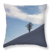 A Backcountry Skier Skins Up A Ridge Throw Pillow