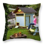 A Backyard Chicken Coop In Bellingham Throw Pillow
