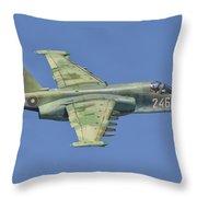 A Bulgarian Air Force Su-25 In Flight Throw Pillow
