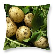 A Bunch Of Fresh New Potatoes Throw Pillow