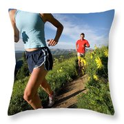 A Couple Trail Running Throw Pillow