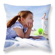A Cute Little Hispanic Girl In A Summer Throw Pillow