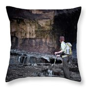 A Female Hiker With Tekking Poles Throw Pillow