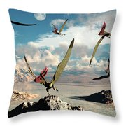 A Flock Of Thalassodromeus Pterosaurs Throw Pillow