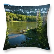 A Fly Fisherman Fishes A High Alpine Throw Pillow