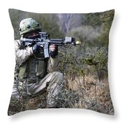 A Georgian Soldier Provides Security Throw Pillow