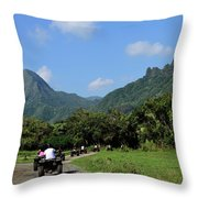 A Group Of Atv Quad Riders Take Throw Pillow