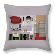 A Group Of Household Objects Throw Pillow
