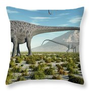 A Herd Of Diplodocus Sauropod Dinosaurs Throw Pillow