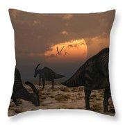 A Herd Of Parasaurolophus Dinosaurs Throw Pillow