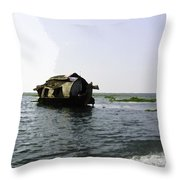 A Houseboat Moving Placidly Through A Coastal Lagoon In Alleppey Throw Pillow