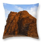 A Landscape Of Rocky Outcrops In The Desert Of Wadi Rum In Jordan Throw Pillow