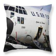 A Lc-130h Hercules Of The New York Air Throw Pillow by Timm Ziegenthaler