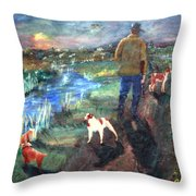 A Man And His Dogs Throw Pillow