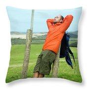 A Man Enjoying A Moment Of Rest Throw Pillow