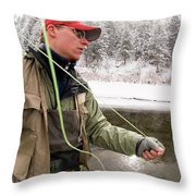 A Man Fly Fishing On The Cache La Throw Pillow