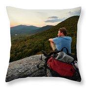 A Man Hikes Along The Appalachian Trail Throw Pillow