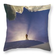 A Man Stands At The Entrance Of An Ice Throw Pillow
