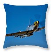 A P-51d Mustang Kimberly Kaye In Flight Throw Pillow
