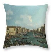 A Regatta On The Grand Canal Throw Pillow