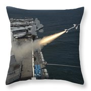 A Rim-7 Sea Sparrow Missile Is Launched Throw Pillow
