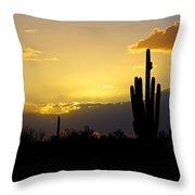 A Saguaro Sunset  Throw Pillow