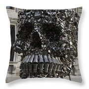 A Skull Sculpture Made Of Cans And Metal Along The Grand Canal Throw Pillow
