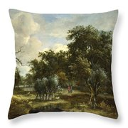 A Stream By A Wood Throw Pillow