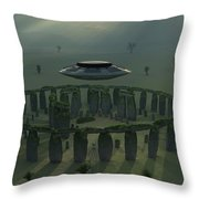 A Ufo & Its Alien Crew Visiting Throw Pillow