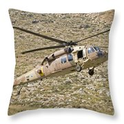 A Uh-60l Yanshuf Helicopter Throw Pillow